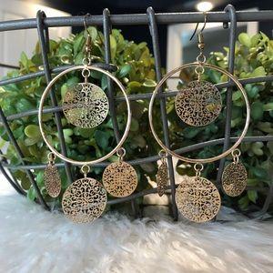 Gold Boho Chandelier Earrings